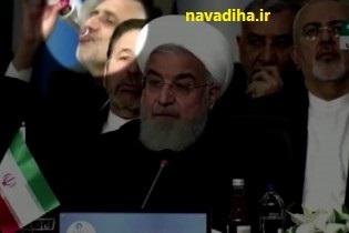 کلیپ رفتارهای عجیب و دور از شان یک دیپلمات هنگام سخنرانی روحانی