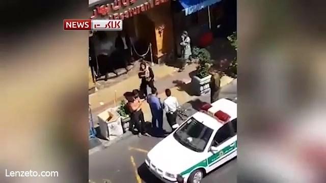 فیلم  حمله عجیب یک خانم به پلیس نیروی انتظامی