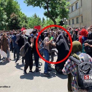 عکس حمله دانشجوی معترض به قانون به یک خانم چادری + تحلیل