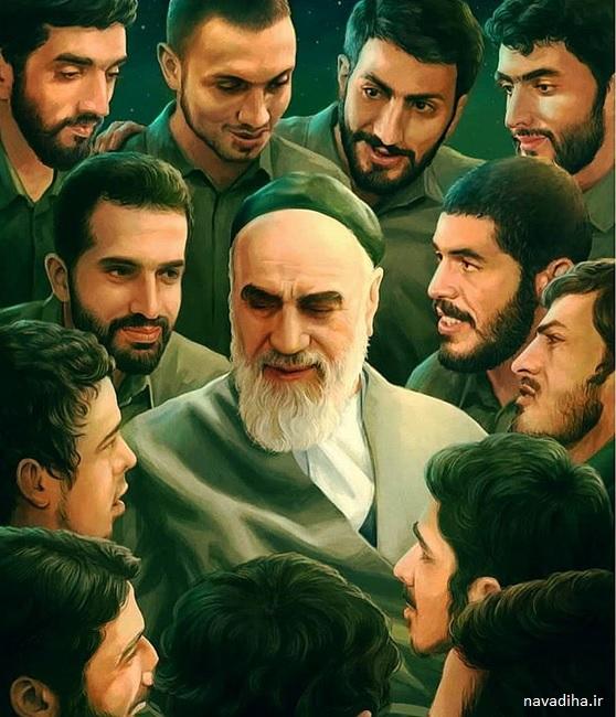 نقاشی زیبای امام و شهدا