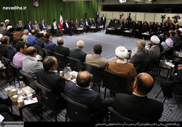 محفل شعر ۹۷ رهبری / شعر حداد عادل در مورد کالای ایرانی و واکنش رهبری!